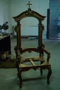 renowacja tronu, tron kościelny, renowacja antyków