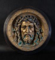 płaskorzeźba, Jezus, mosiądz, antyki, antyki K&R, antykikr