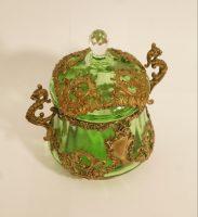 bomboniera z zielonego szkła, antyk, szkło zielone, antykikr,